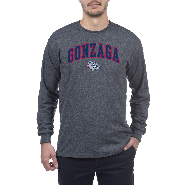 Dark Heather Medium Elite Fan Shop Gonzaga Bulldogs Mens Long Sleeve Arch Tee