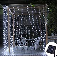 DBFairy Solar Curtain Lights Outdoor,13ft(L) x 3.3ft(H),8 Mode,200 LED,Solar String Lights for Pool Glass Fence Handrail Railing Eaves Wall Pavilion Wedding Arch Decoration-Waterproof,Dark Green