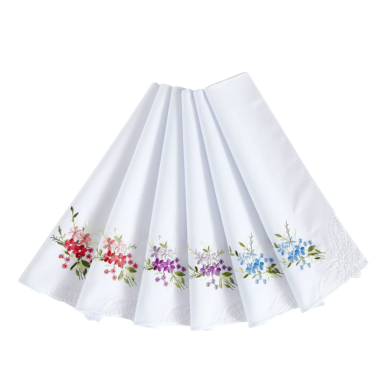 Women's 100% Cotton Handkerchief, Printing Hankies (pack of 3)
