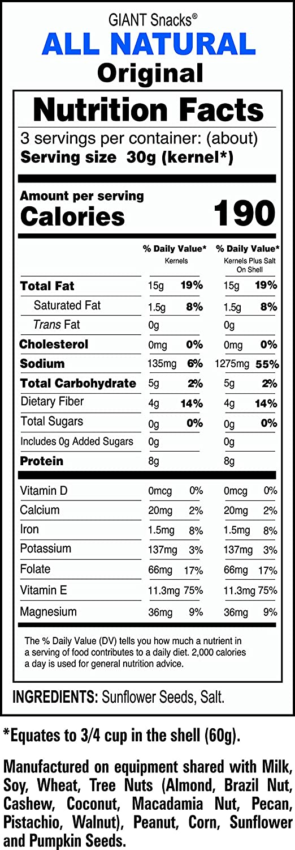 GIANTS Semillas de girasol saladas (24-5,75 oz. Bolsas ...