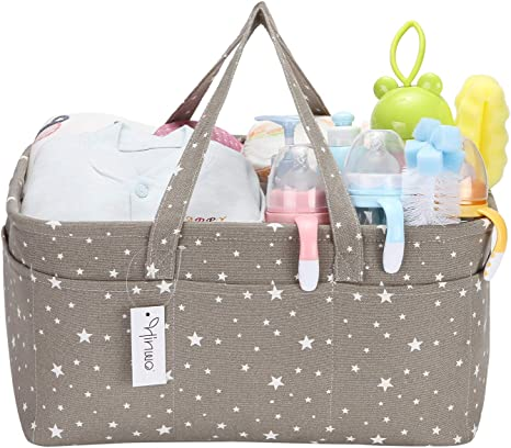 Hinwo Baby Diaper Bag Caddy 3 Compartment Infant Nursery Storage Bin Portable Car Organizer Newborn Shower Gift Basket with Detachable Divider and 10 Invisible Pockets