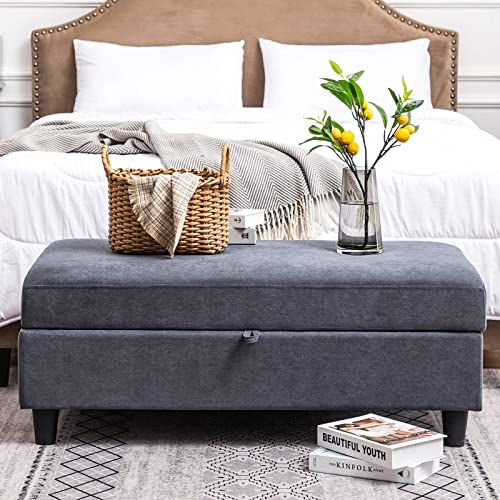 HONBAY 45 inches Storage Bench Ottoman Rectangular Bench