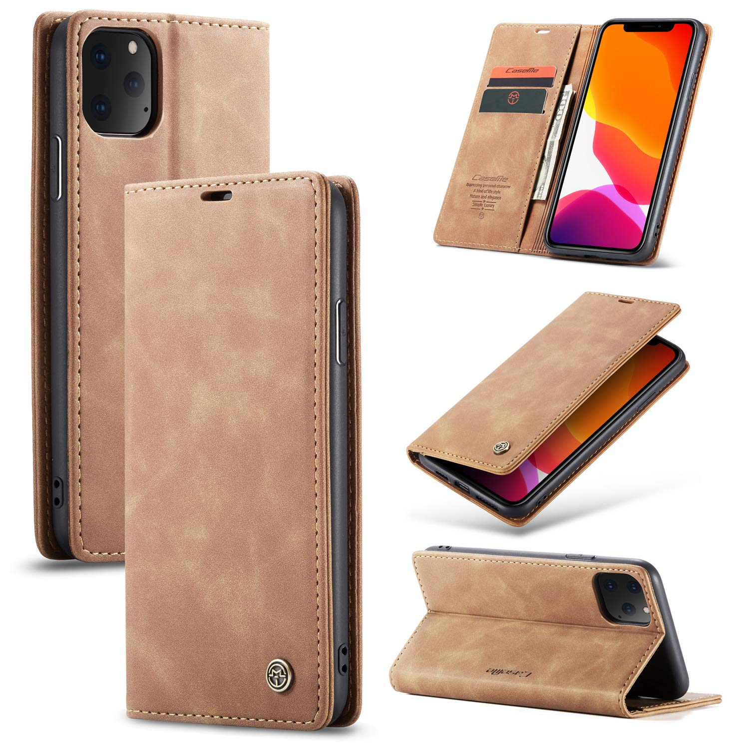 for 2019 iPhone 11 Pro 5.8'' Case, MeiLiio Genuine Leather Wallet Case Flip Folio Cover Book Style Retro Vintage Stand Protective Case with Card Slots & ID Holder for iPhone 11/XI Pro, Brown by MeiLiio