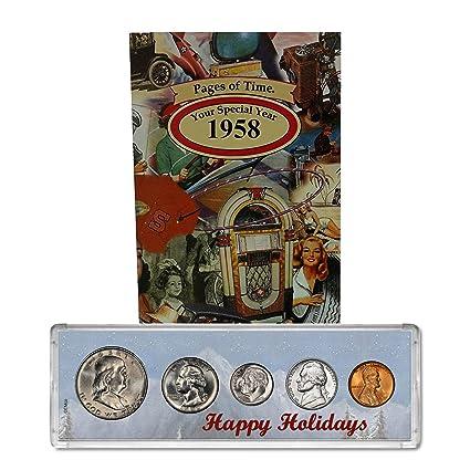 1958 año moneda Set & Tarjeta de felicitación: 59th ...