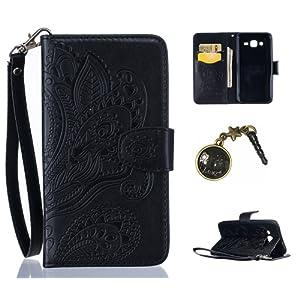 PU Cuir Coque Strass Case Etui Coque étui de portefeuille protection Coque Case Cas Cuir Swag Pour Samsung Galaxy J5 (2015)+Bouchons de poussière (4GD)