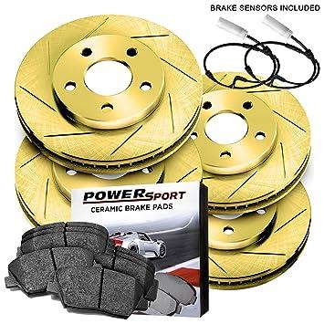 Kit completo de rotores de freno dorados y pastillas de freno de cerámica 1989 - 1991 Porsche 944: Amazon.es: Coche y moto