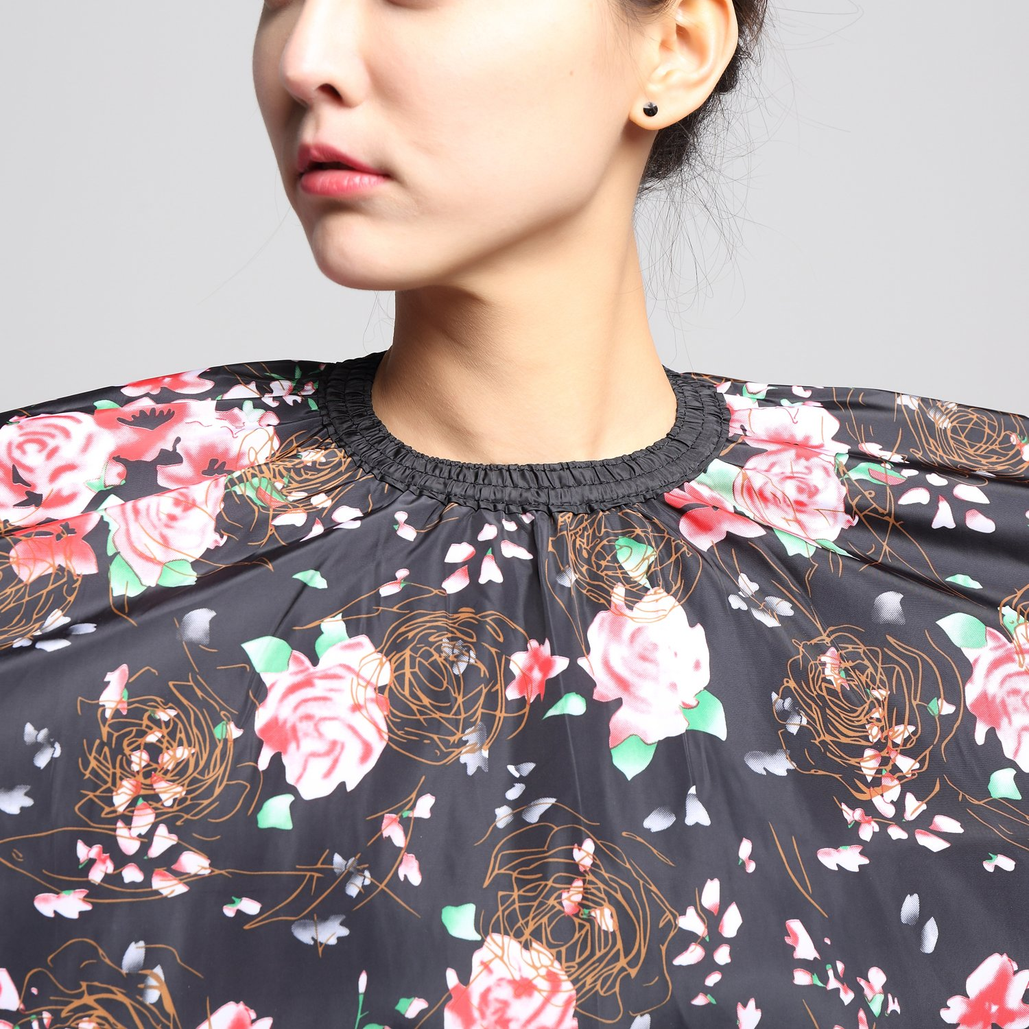 Salon Professional Hair Styling Cape,Colorfulife Hair Cutting Rose Flower Bronzing Waterproof Hairdresser Wai Cloth Barber Gown Hairdressing Wrap,55''x63'' K064 (Rose) by Colorfulife (Image #6)