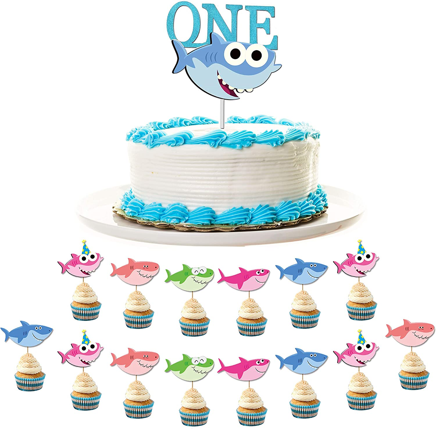 Stupendous Amazon Com 7 Colors Kids Baby Shark 1St Birthday Decoration Pack Birthday Cards Printable Opercafe Filternl