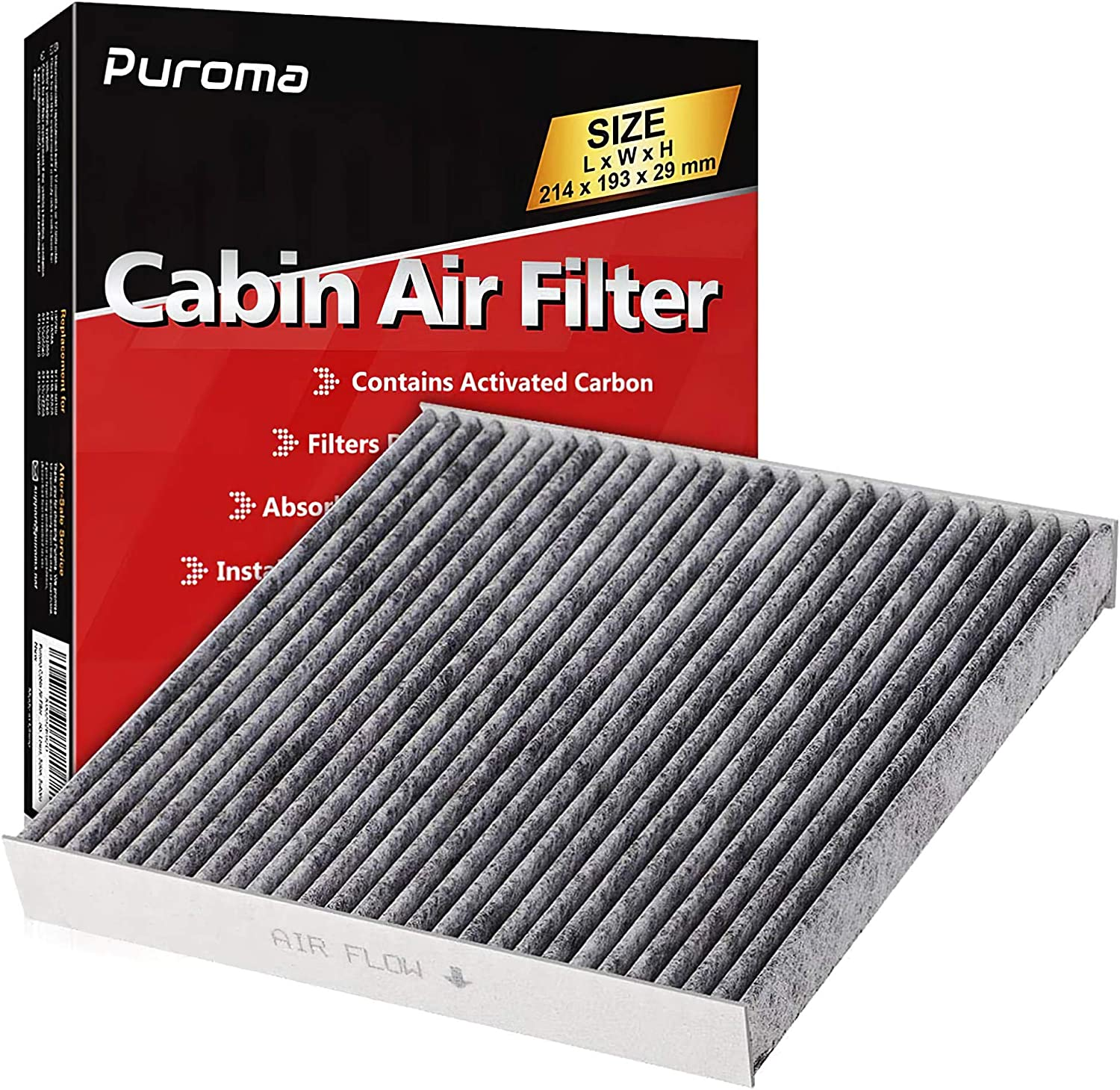 Puroma Cabin Air Filter with Activated Carbon, Replacement for CP285, CF10285, Toyota, Lexus, Scion (1 pc): Automotive