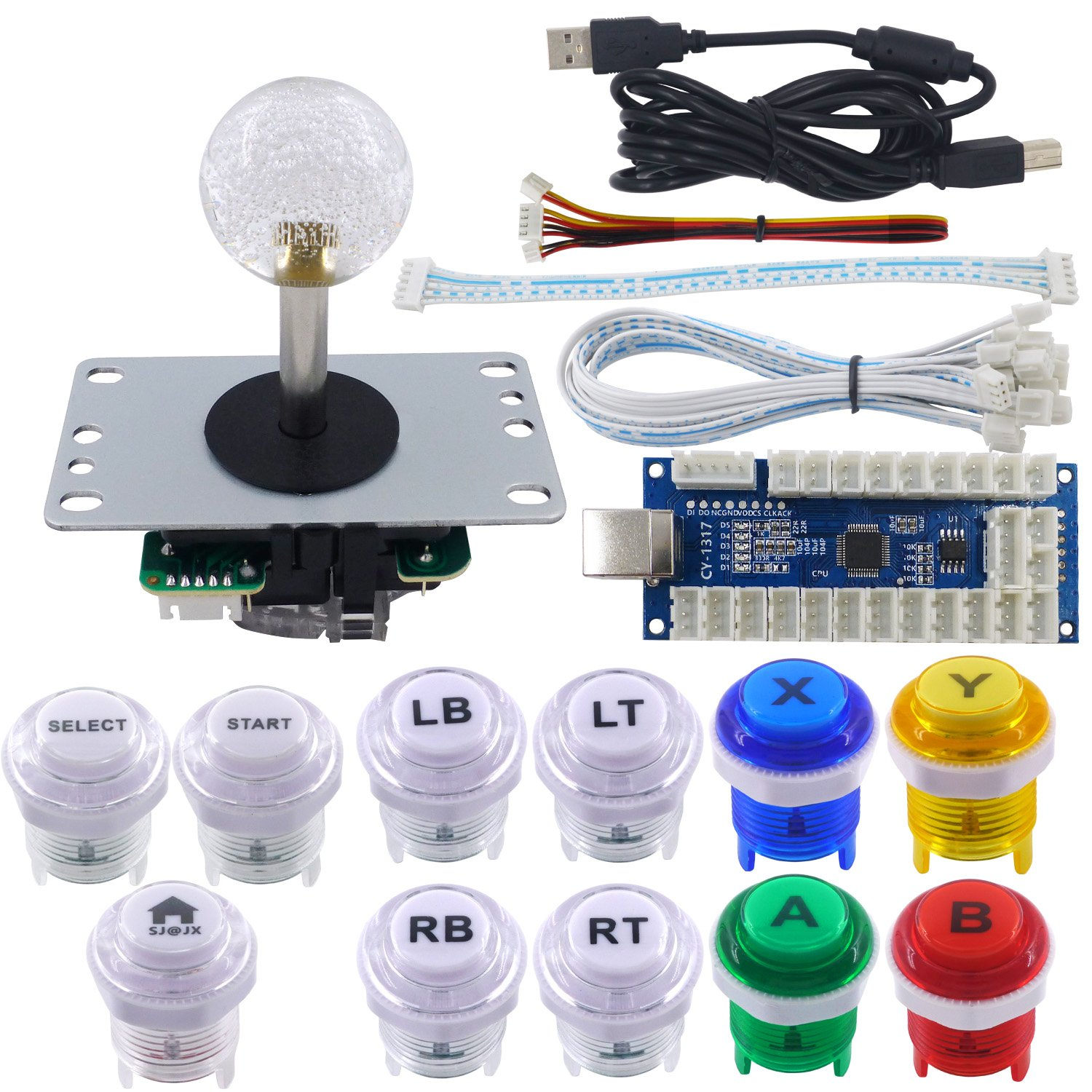 SJ@JX Arcade Game LED DIY Kit Xbox One Style Zero Delay USB Encoder Arcade Highlight Click LED Button PC PS3 Android Xbox360 Mechanical Keyboard Switch