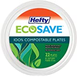 Hefty ECOSAVE 100% Compostable Paper Plates, 8-3/4 Inch, 22 Count