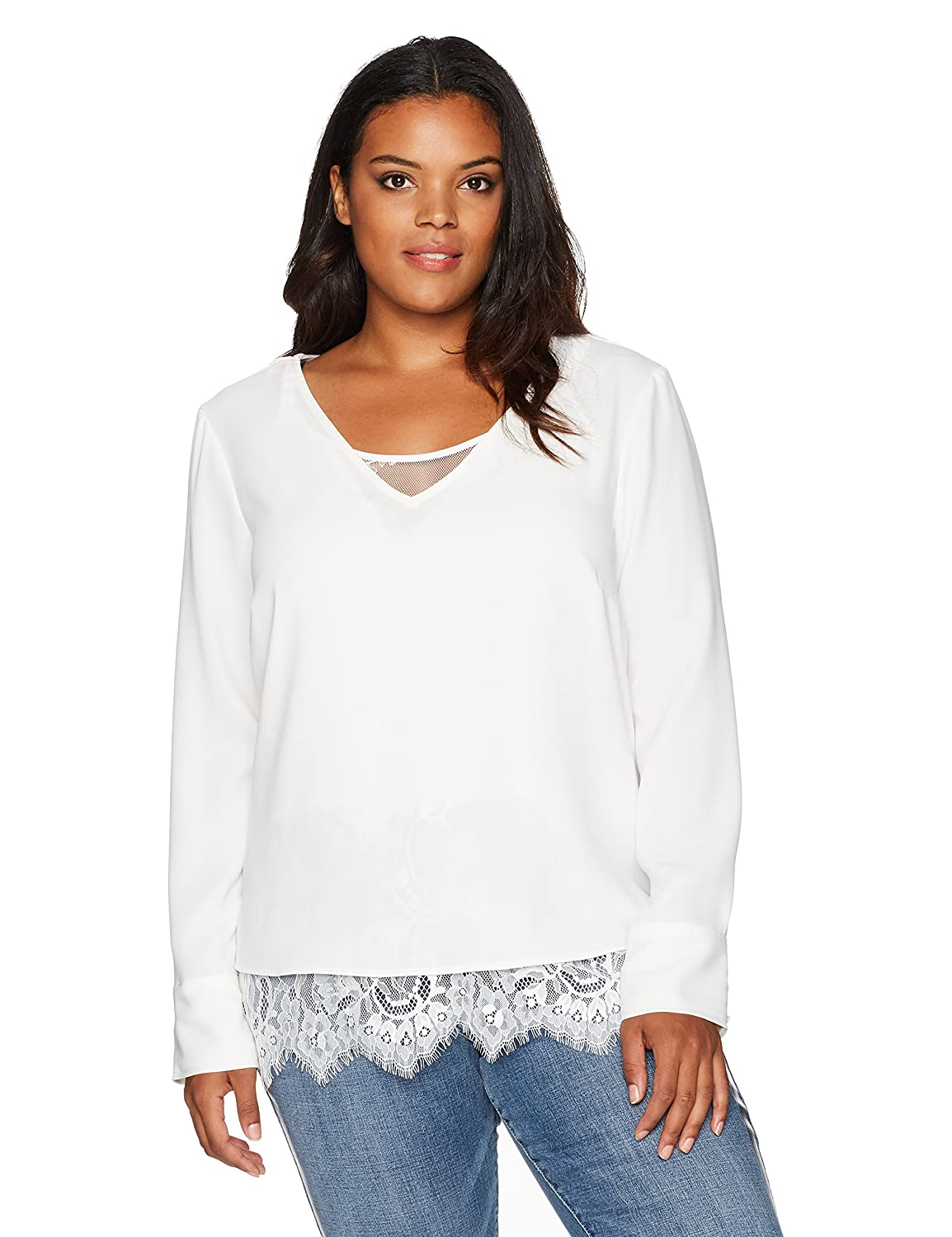 Rebel Wilson X Angels Women s Plus Size Double Layer Top W Lace Underlay  and Split Barrel Cuff at Amazon Women s Clothing store  002c9b889