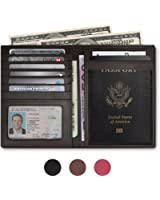 RFID Blocking Leather Passport Holder For Men and Women - Black , Brown , or Pink
