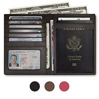 Image result for RFID Blocking Leather Passport Holder For Men and Women