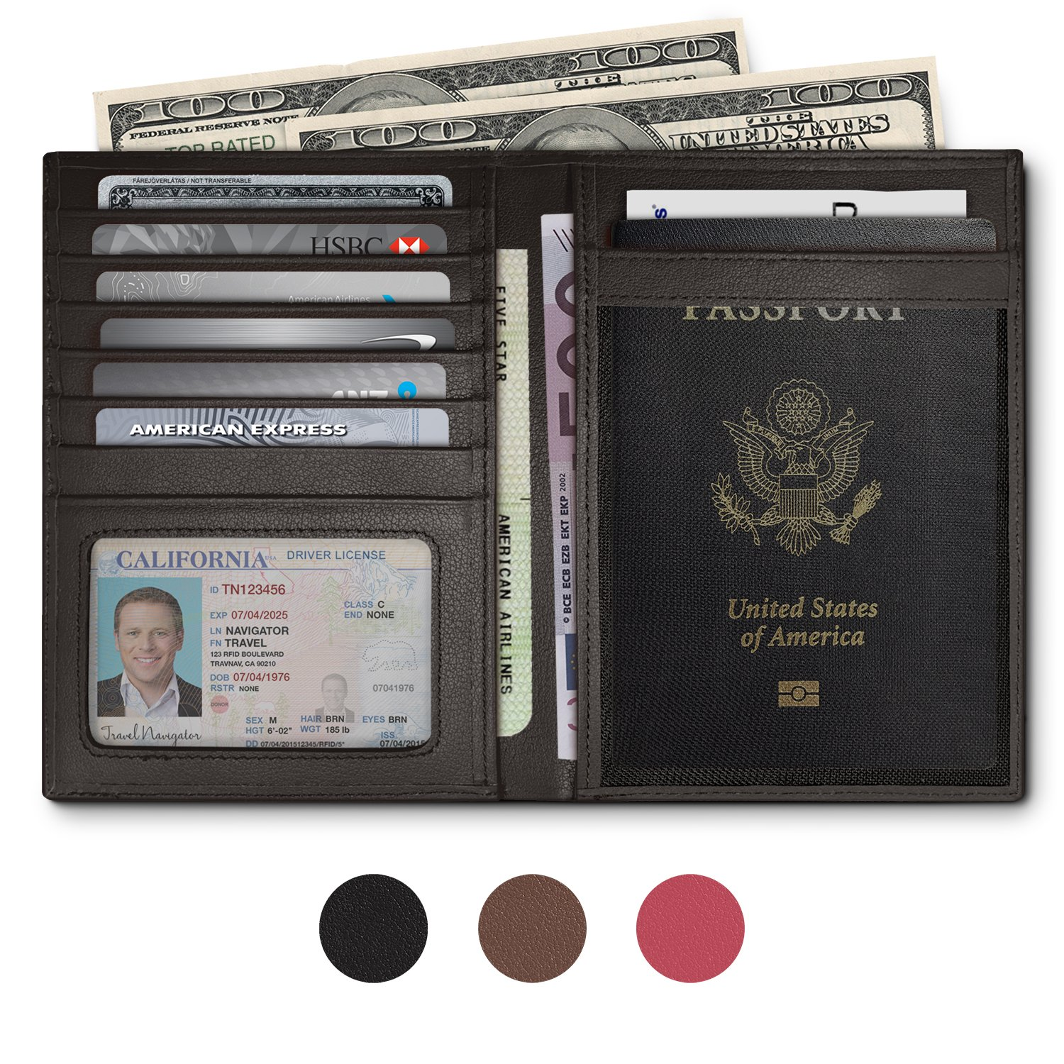RFID Blocking Leather Passport Holder For Men and Women - Black