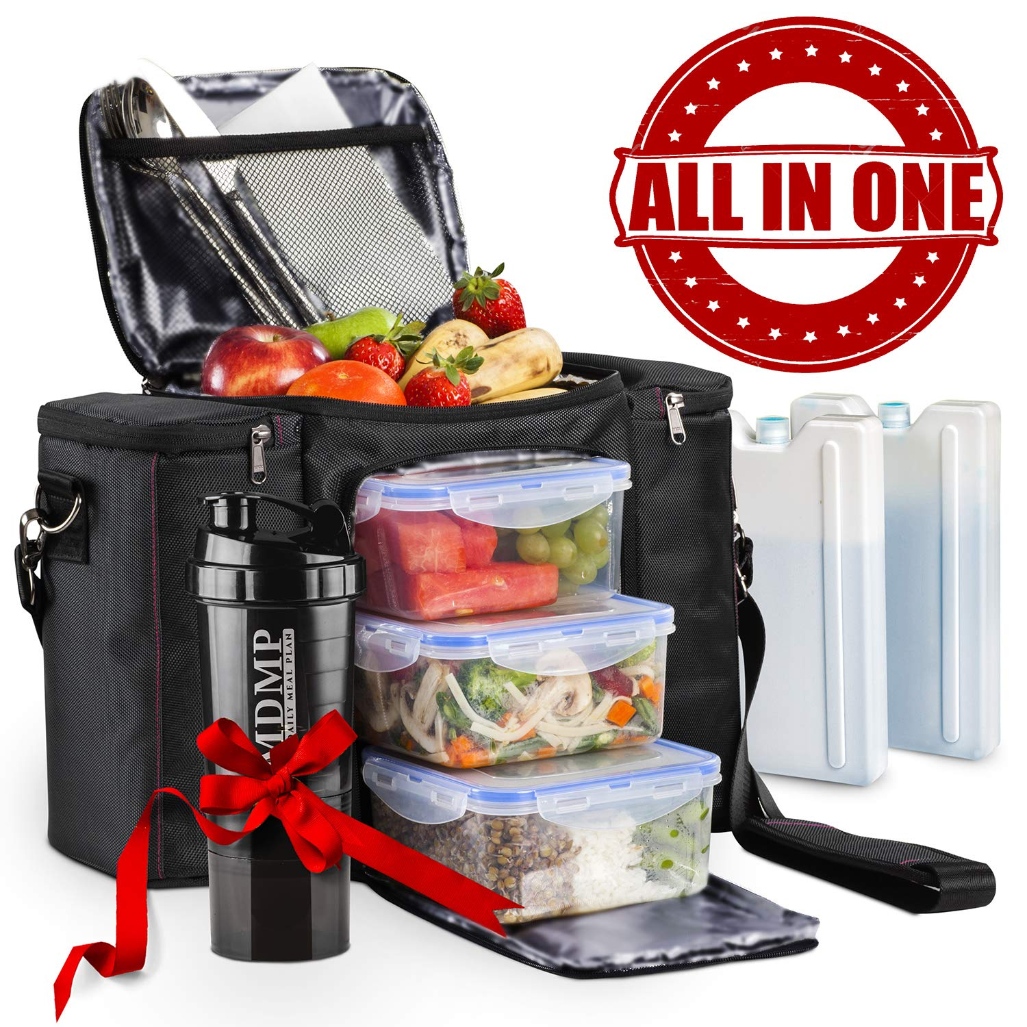 Meal Prep Lunch Bag/Box For Men, Women + 3 Large Food Containers (45 Oz.) + 2 Big Reusable Ice Packs + Shoulder Strap + Shaker With Storage. Insulated Lunchbox Cooler Portion Control Set (Black) by MDMP - My Daily Meal Plan