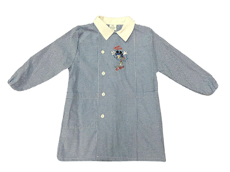 Disney grembiule celeste a quadretti PRODOTTO ORIGINALE MICKY MOUSE TOPOLINO scuola elementare materna