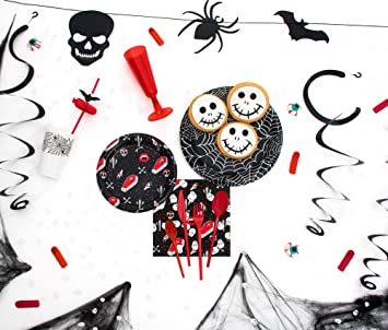 [OFERTA] Party Planet - Pack fiesta Halloween de 12 personas con accesorios decorativos y vajilla de plástico con diseño de vampiro y telaraña ideal ...