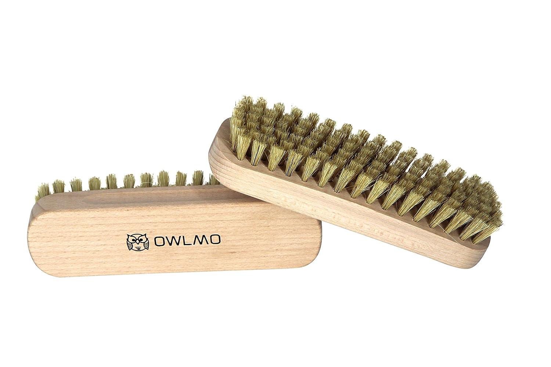 Auto Schuhb/ürste Fusselb/ürste Kleiderb/ürste 2er Set Reinigungsb/ürste aus Buchenholz 15,5cm Plastikfreie Verpackung F/ür Kleidung OWLMO/® Glanzb/ürste