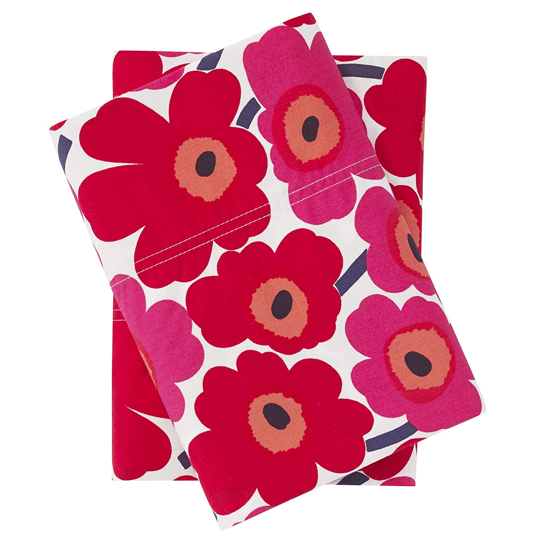 Marimekko Mini Unikko Pillowcase Pair, King, Red
