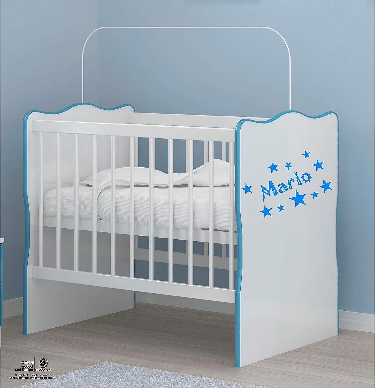 Artstickers Adhesivo Infantil para decoraci/ón de Muebles en Color Azul Nombre de 20cm Paredes.Nombre: Mario Kit de 10 Estrellas para Libre colocaci/ón. Puertas