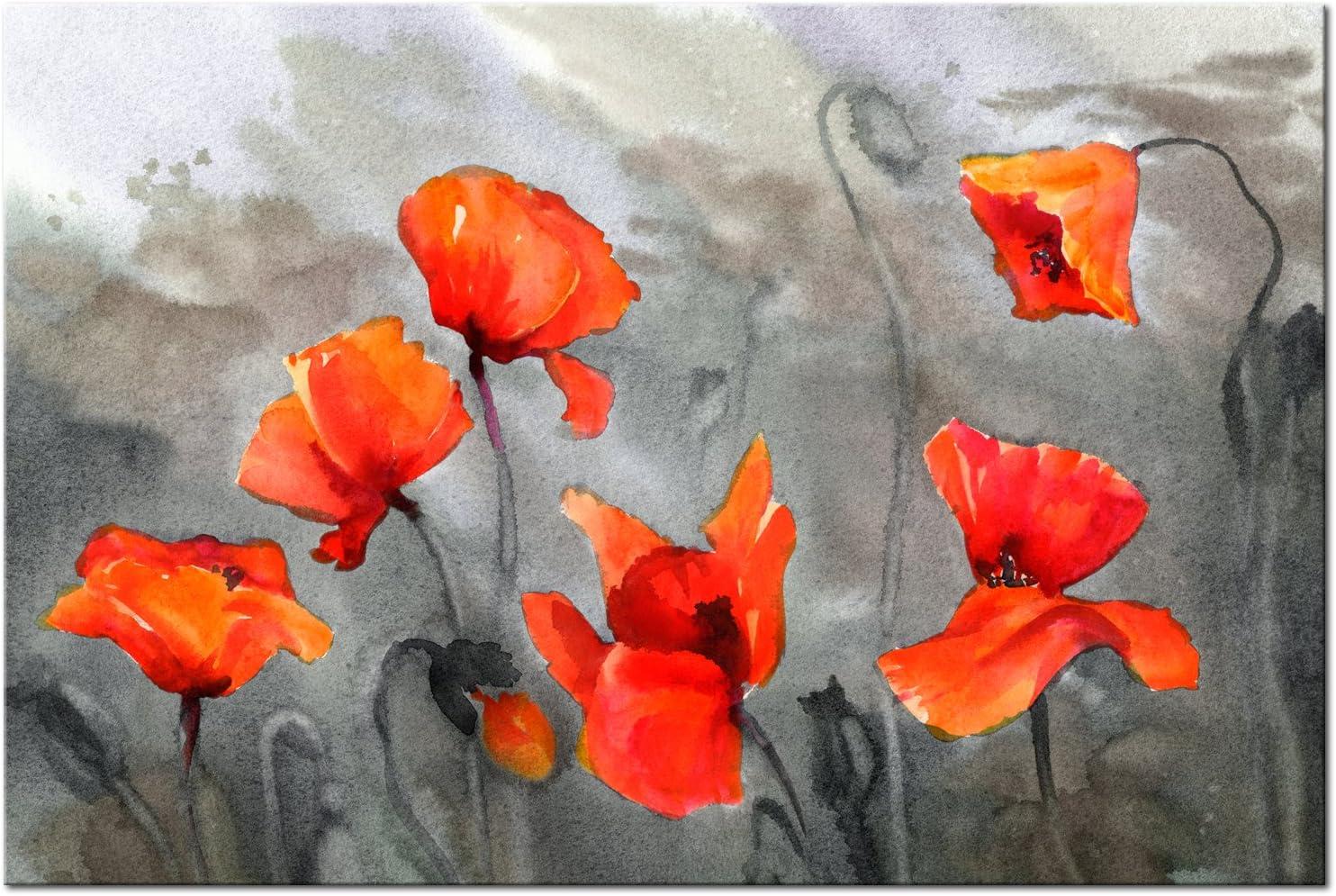 BLUMEN MOHNBLUMEN ROT GRAU Wandbilder xxl Bilder Vlies Leinwand b-B-0232-b-a