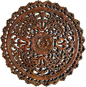 """Tropical Bali Wood Carved Wall Art Plaque. Round Wood Wall Decor. Floral Wood Wall Hanging. 24"""" (Brown-Red Mahogany)"""