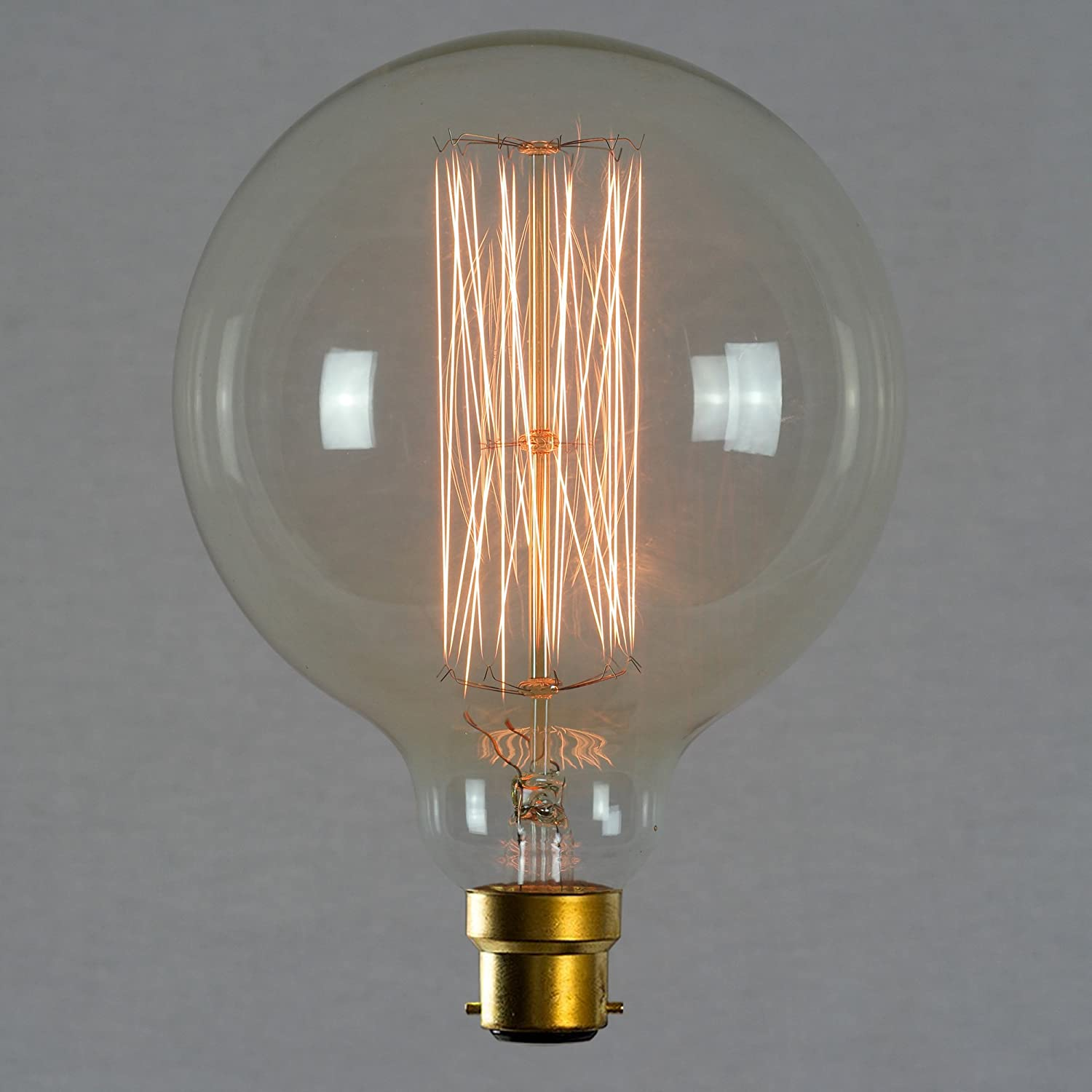 Vintage Edison Globe Light Bulb Boyonet 60w - Giant Squirrel Cage Globe Dimmable 125mm B22 BC - The Retro Boutique ® TRB