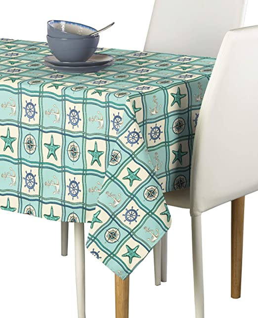 Amazon Com Fabric Textile Products Nautical Patches Compass Tablecloth 60 X104 Home Kitchen