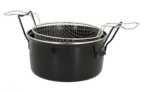 UtilHome 3645575 - Freidora (Acero, 28 cm), Color Negro