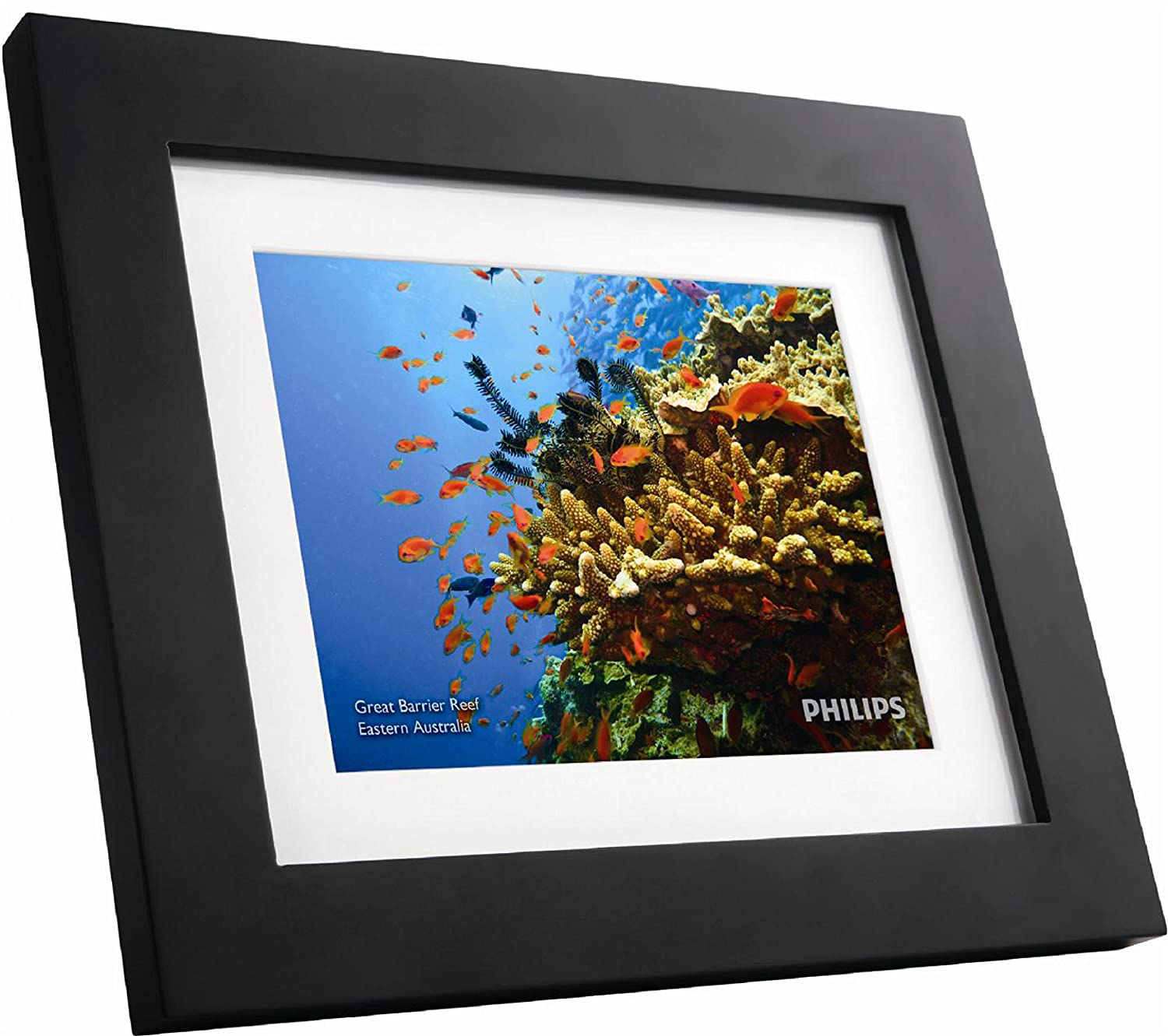 """GiiNii SPF3483/G7 8"""" Digital Picture Frames (Brown/Black with White Mat)"""