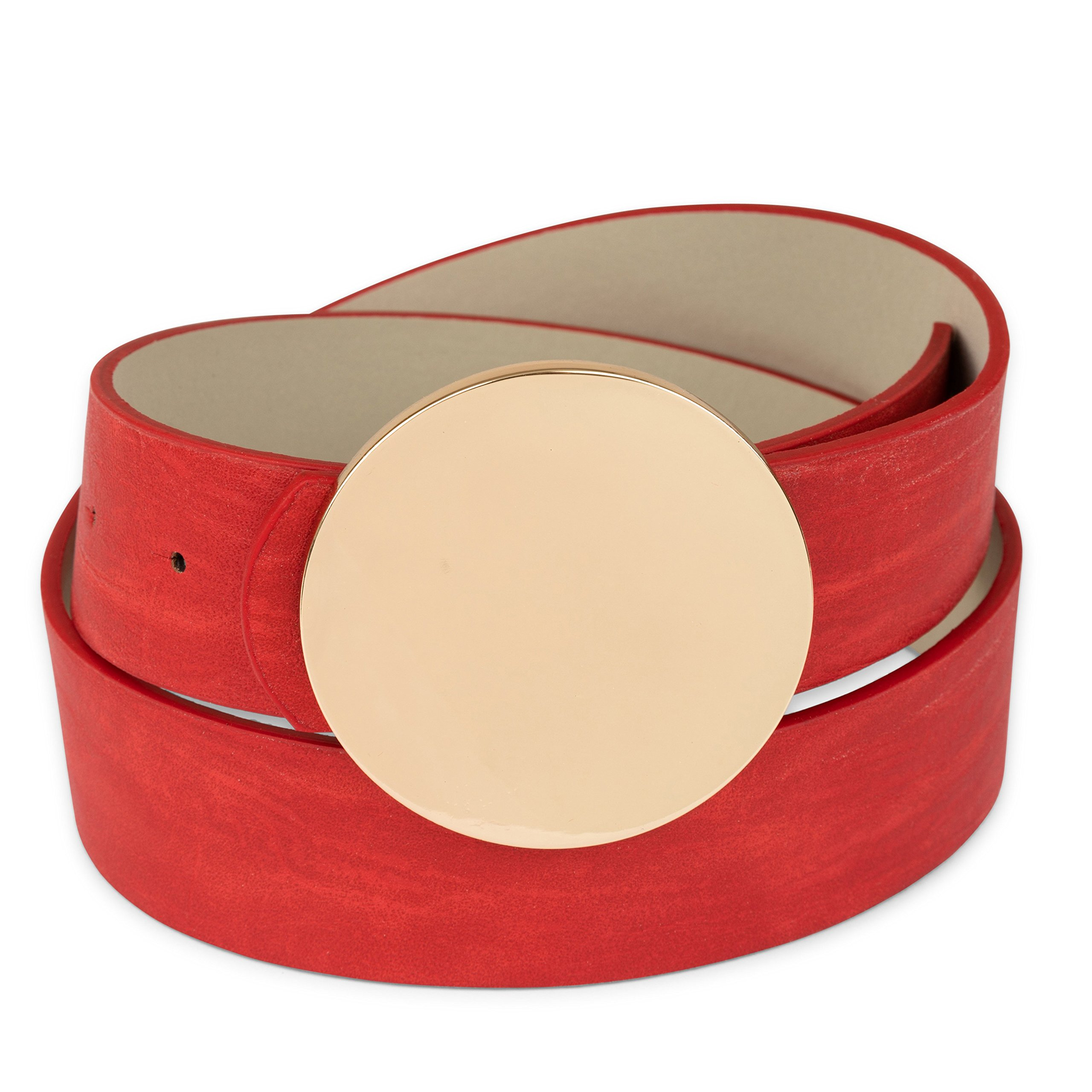 Two 12 Fashion Women's Gold Round Buckle Vegan Leather Belt, Red