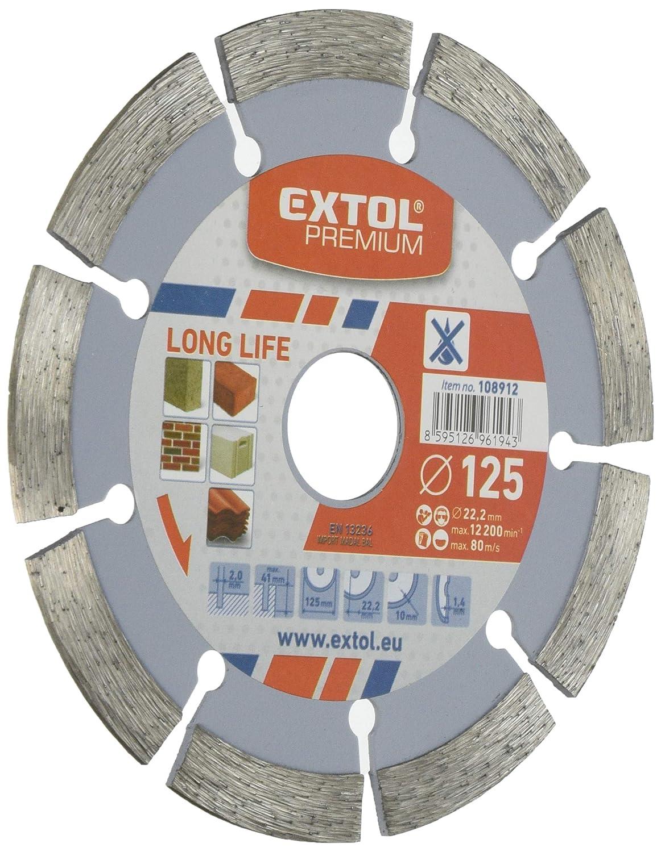 Extol Premium 108912 - Disque à tronçonner diamant, Long Life segment - coupe à sec - 125x22,2mm Long Life segment - coupe à sec - 125x22