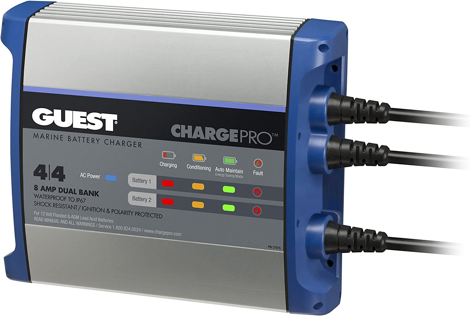 Guest 2707A ChargePro On-Board Battery Charger 8A / 12V, 2 Bank, 120V Input