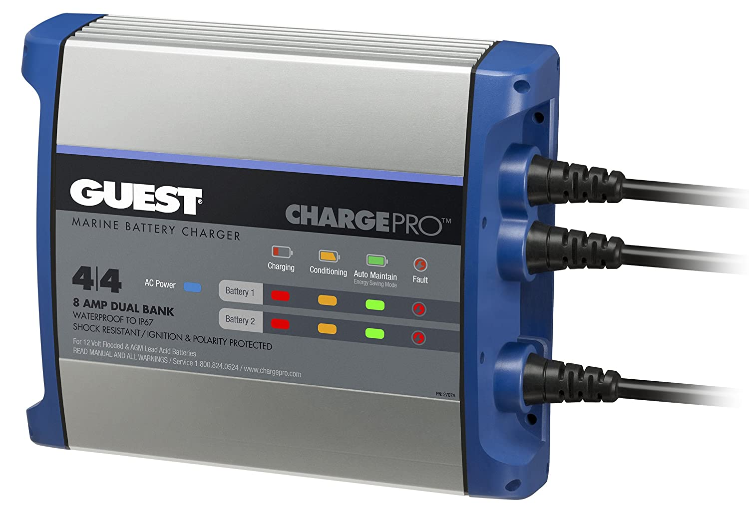 Guest On-Board 8A/12V 2 Bank 120V Input Battery Charger Marinco Electrical Group 2708A