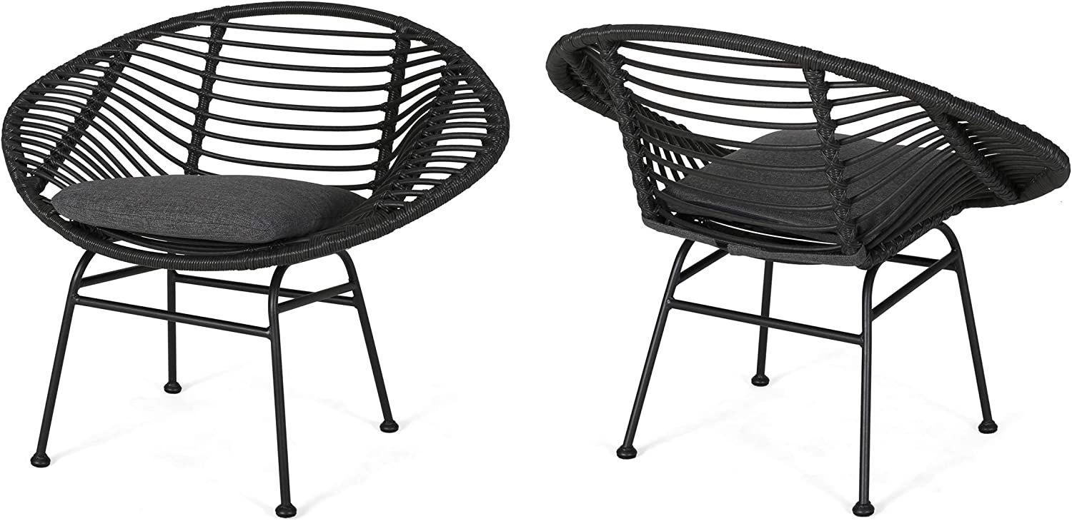 Aleah Outdoor Woven Faux Rattan Chairs with Cushions Set of 2 , Gray and Dark Gray Finish