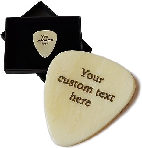 Púa de guitarra personalizada. Grabado con hasta 30 letras. Hueso ...