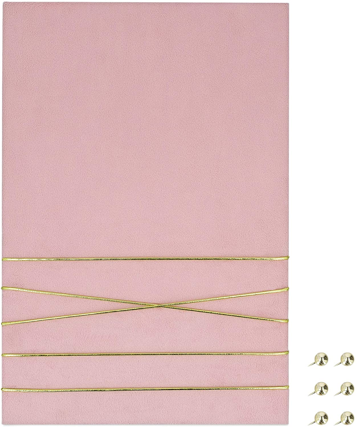 """Navaris Fabric Memo Bulletin Board - 12"""" x 17"""" Velvet Memory Board for Wall to Display Photo Collages, Pictures, Notes - Includes 6 Push Pins - Pink"""