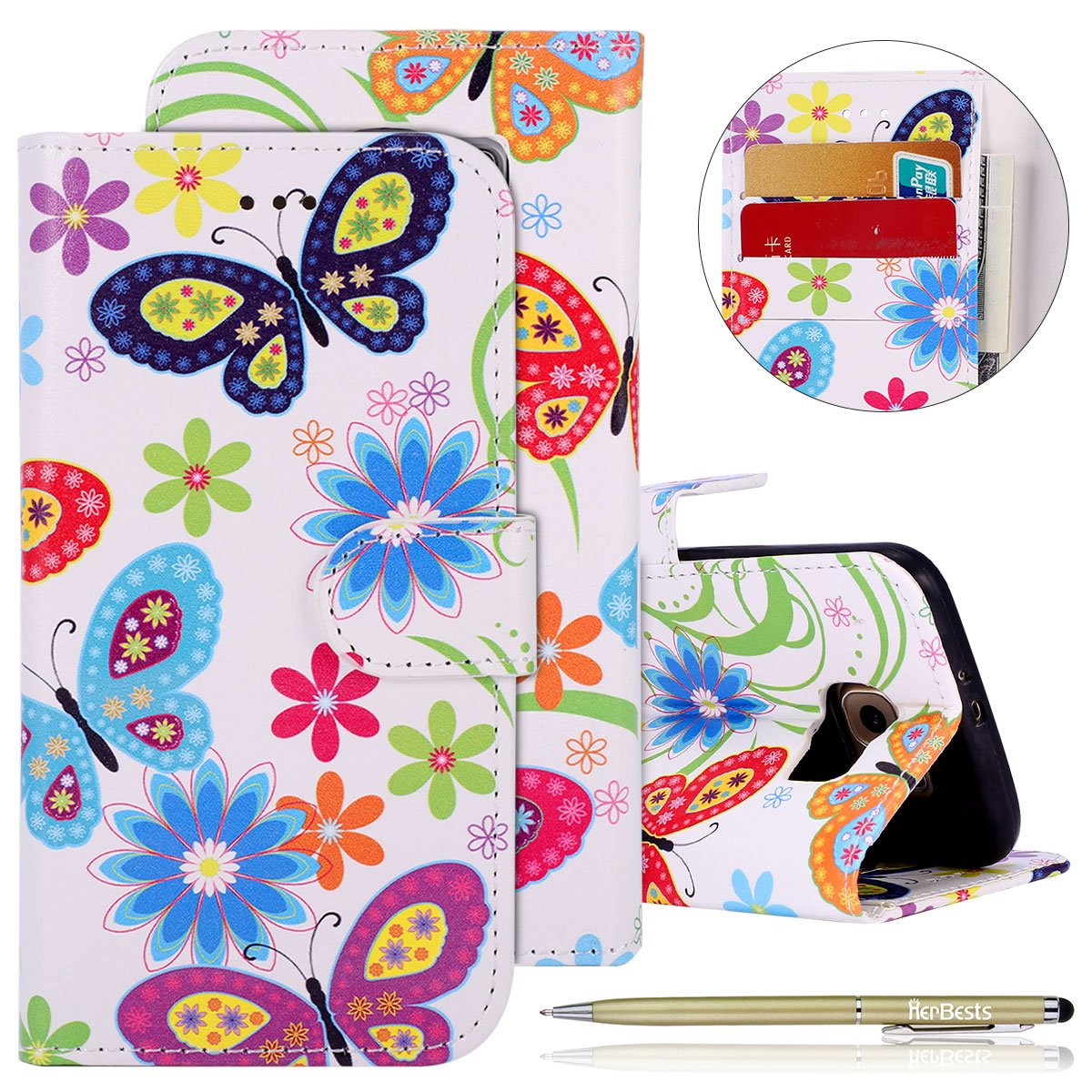 Herbests Kompatibel mit Handytasche Galaxy S6 Handy Schutzh/ülle Brieftasche Handy H/ülle Lederh/ülle Leder Tasche Handy Case Handytasche Wallet Klapph/ülle Flipcase Cover,Rose Gold Marmor
