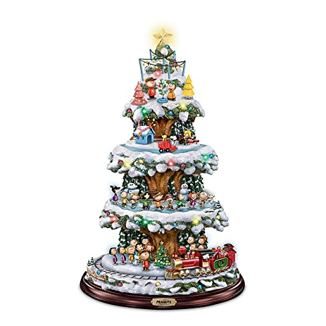 bradford exchange a peanuts christmas tabletop christmas tree with lights music and motion - Tabletop Christmas Trees With Lights
