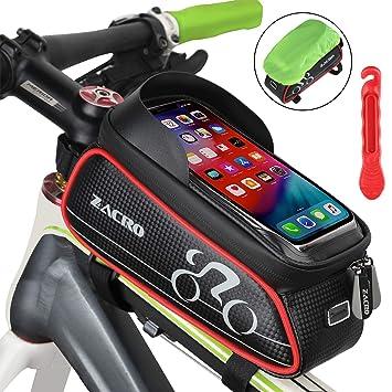 Zacro Bolsa Bicicleta Manillar,Soporte Bolsa Táctil Bicicleta Impermeable,Gran Capacidad para Bici y de Cremallera Doble Viseras para Moviles debajo ...