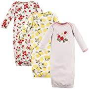 Hudson Baby Baby Cotton Gowns, Strawberries/Lemons 3-Pack, 0-6 Months