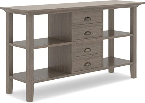 Simpli Home Redmond SOLID WOOD 54 inch Wide Rustic Console Sofa Table in Farmhouse Grey