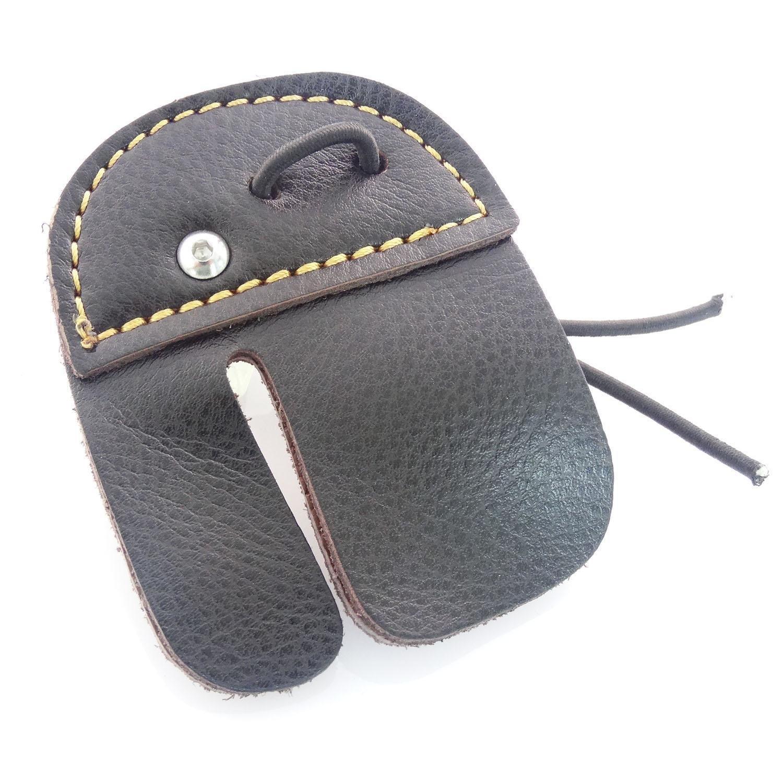 Tiro con arco dedo Tab Protector de dedos de piel de vaca, color marrón xhytradeindustry