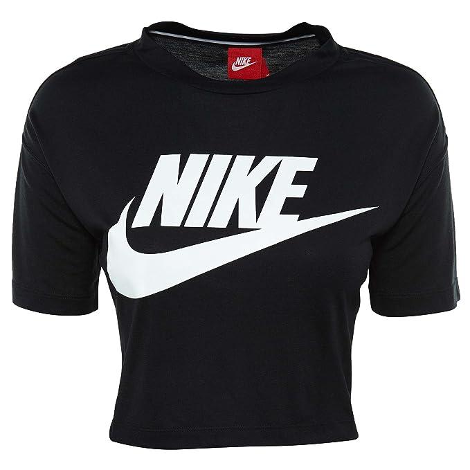 968931311f8e9d Nike Womens Essential Short Sleeve Crop Top T-Shirt Black White AA3144-010