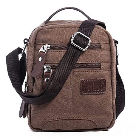 Piccola Borsa a Tracolla Mano Uomo Sacchetto di Messenger Bag Casual Borsello  di Tela Crossbody Sling 72cdaa2646a