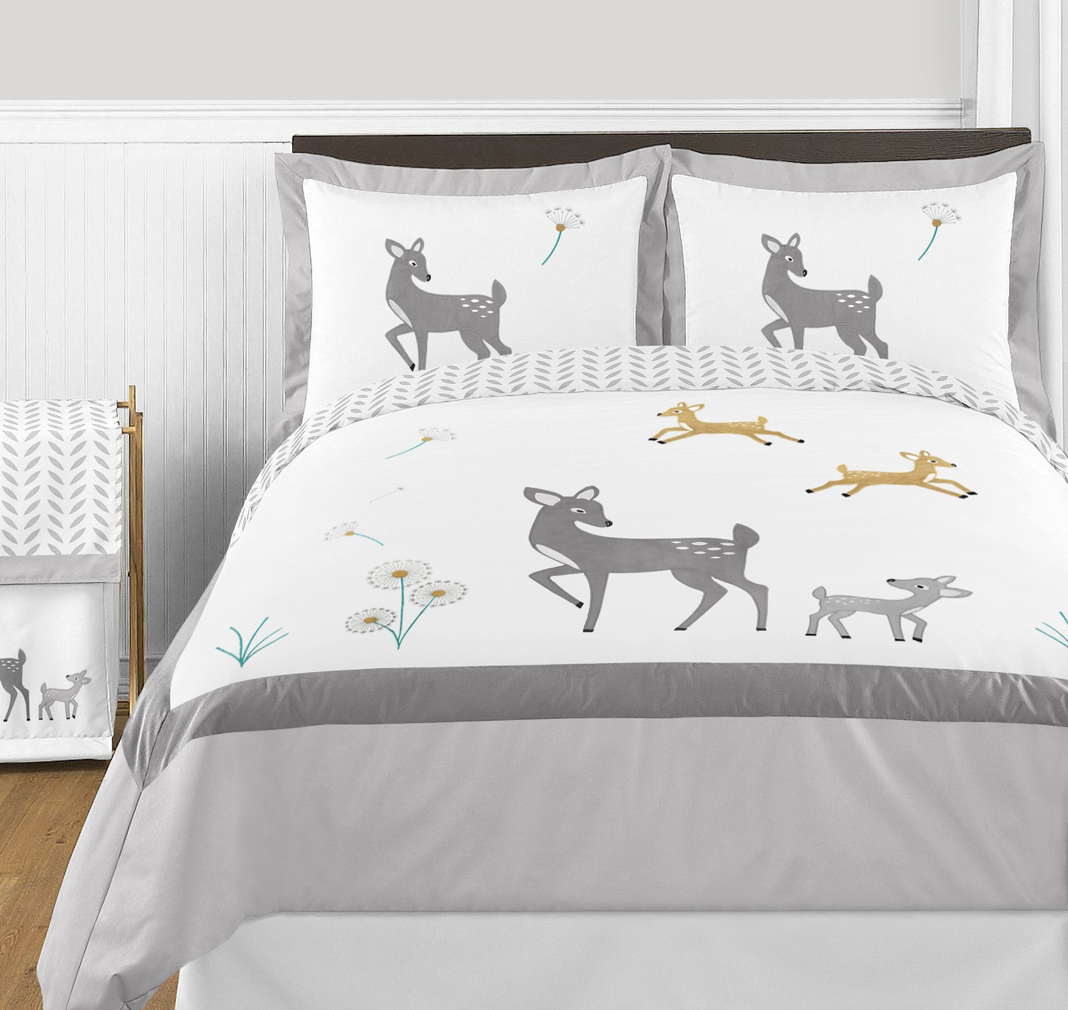 Sweet Jojo Designs 3-Piece Grey Gold and White Forest Deer and Dandelion Girl or Boy Full/Queen Bedding Children's Bedding Set