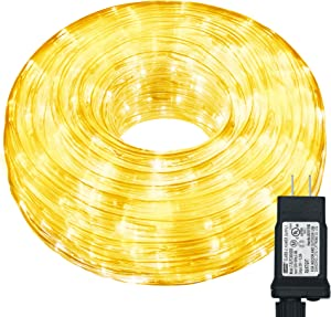 Hezbjiti LED Rope Lights, 240 LED 33ft 8 Modes Control Flexible Low Voltage Rope Lights, Indoor Outdoor Waterproof Tube Light for Gardens, Home, Party, Christmas (240 LED, Warm White)