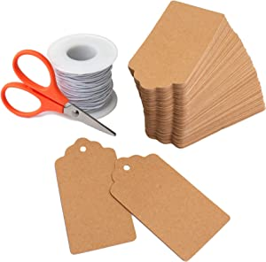 Kraft Paper Tags Set with String and Scissors for Clothing - Craft Paper Price Tags - Mason Jar or Candy Labels