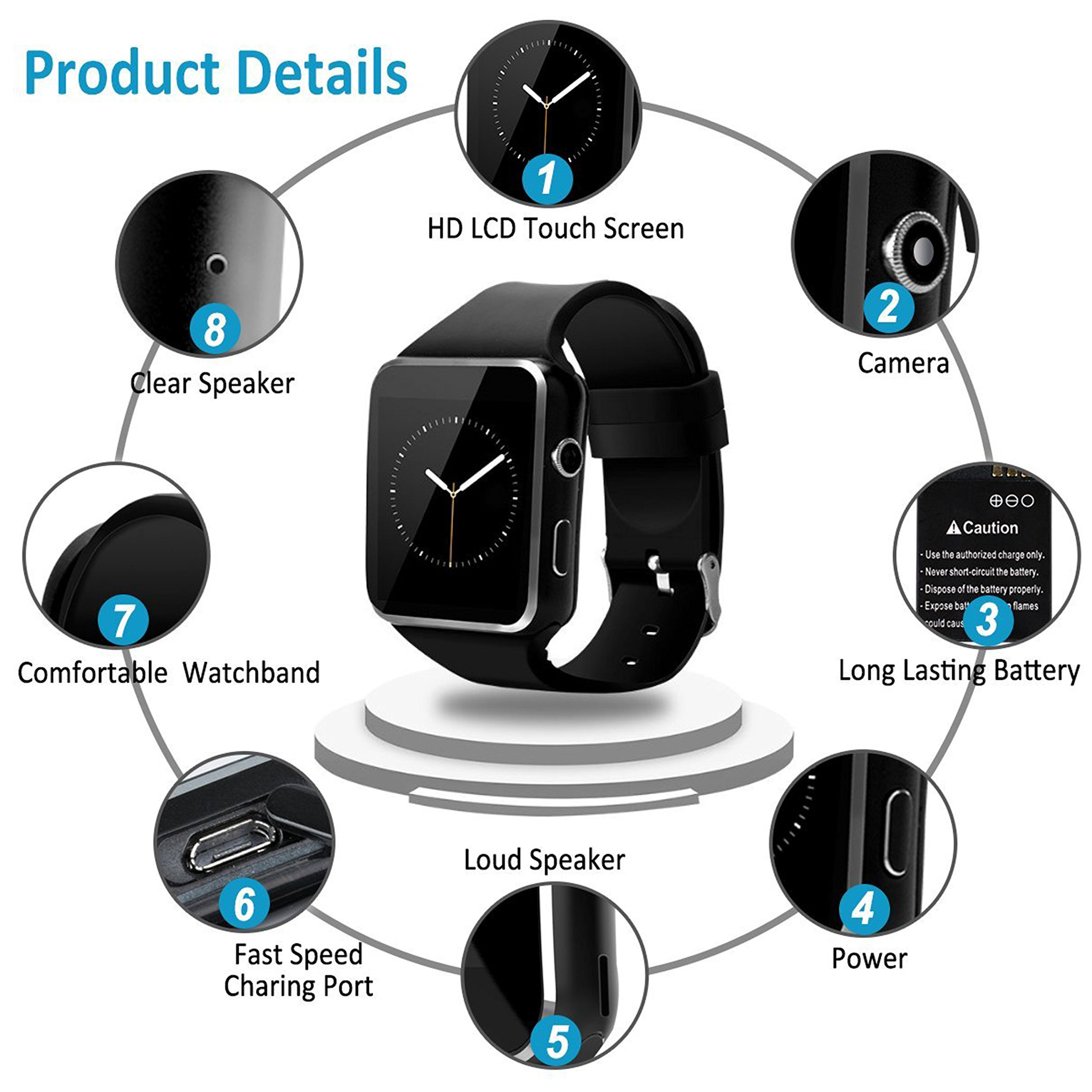 2018 Newest Bluetooth Smart Watch Touchscreen with Camera,Unlocked Watch Phone with Sim Card Slot,Smart Wrist Watch,Smartwatch Phone for Android Samsung S9 S8 IOS Iphone 8 7S Men Women Kids (BLACK) by JAVENSMARTEQT (Image #2)